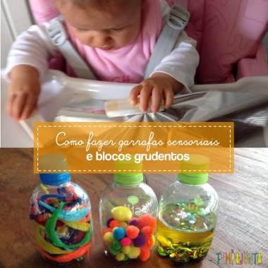 Atividade para bebês de 6 a 12 meses: garrafas sensoriais e blocos grudentos