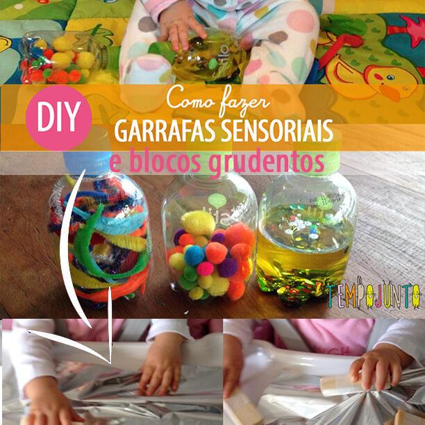 Atividade para bebês de 6 a 12 meses: garrafas sensoriais & blocos grudentos