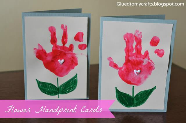 7 ideias de cartões para o Dia das Mães - flor de mao