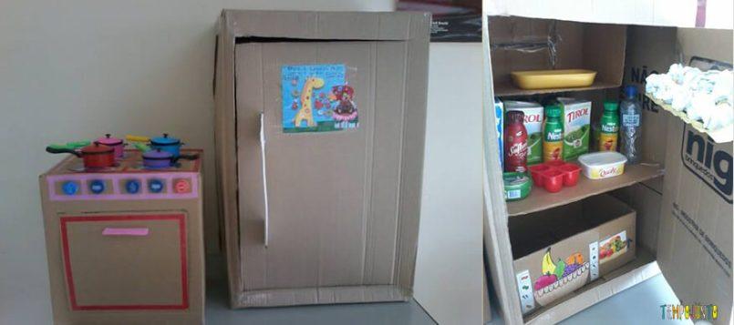 25 brincadeiras com caixa de papelão - cozinha