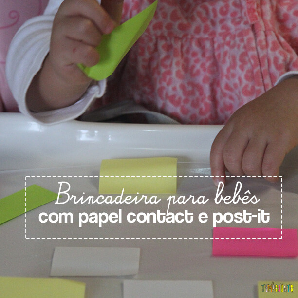 Brincadeira divertida para bebês com post-it e contact