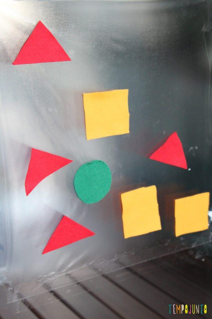 Atividade de cores e formas com contact e feltro - colorindo o contact