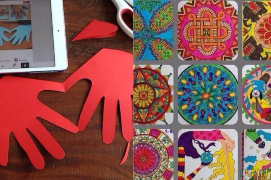50 brincadeiras artísticas fantásticas que qualquer um consegue fazer cartão de coração e mandala