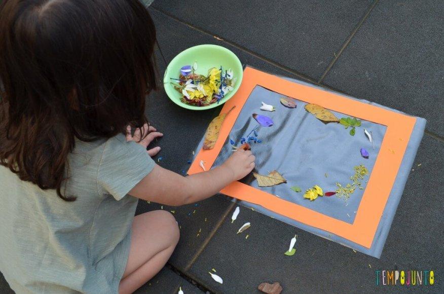 8 brincadeiras de artes ao ar livre - botando folhas