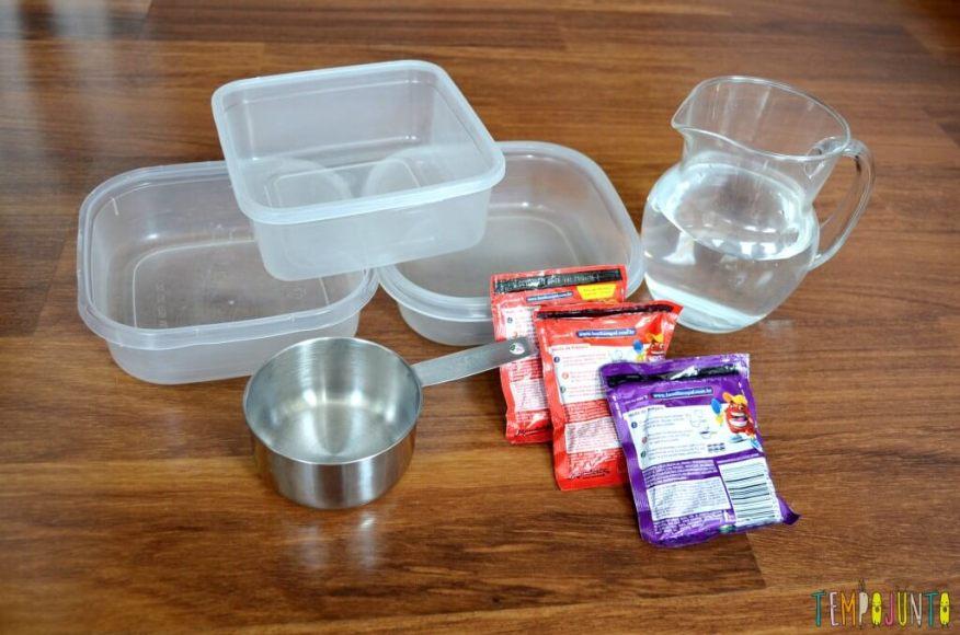 Brincar de cozinhar gelatina é simples e delicioso - materiais