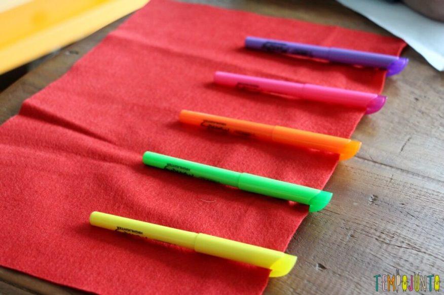 Dica de presente para a professora - primeiro passo posicionar os marcadores