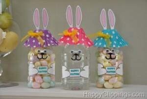 10 ideias de presente de Páscoa para os professores - pote coelho de garrafa pet