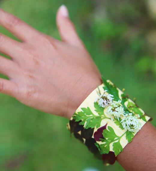 10 ideias para transformar um passeio numa aventura - bracelete de folha
