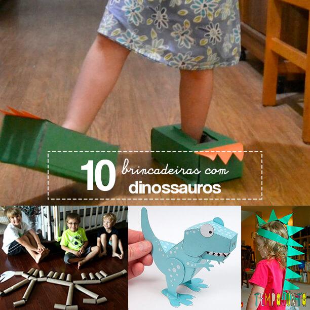 10 ideias de brincadeiras com dinossauros capa