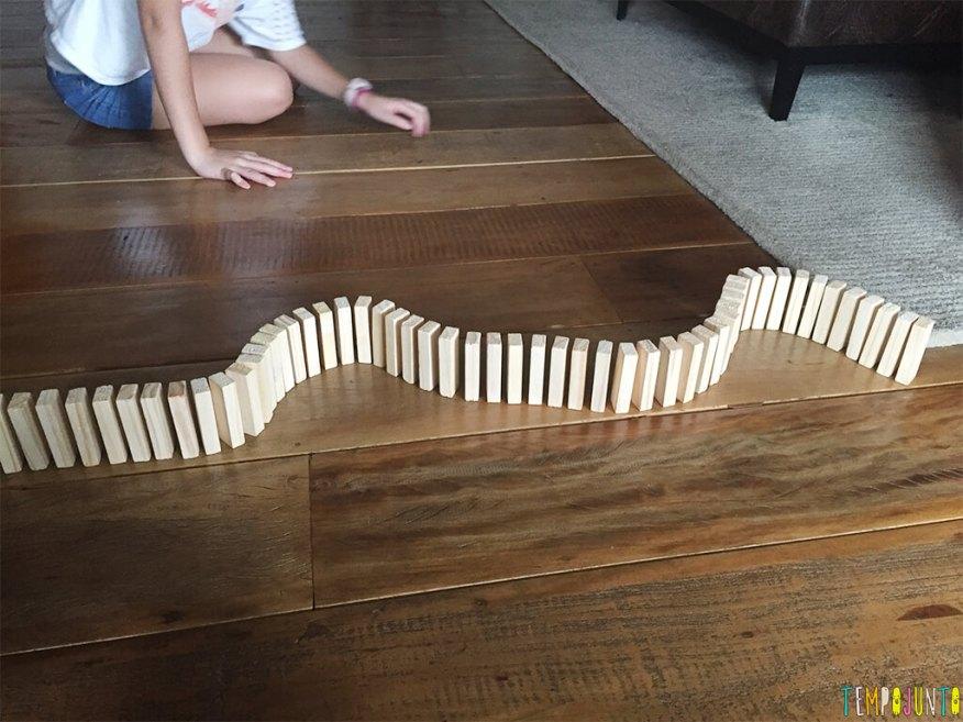 Qual foi a última fila de dominó que você fez para derrubar - desenho da fila