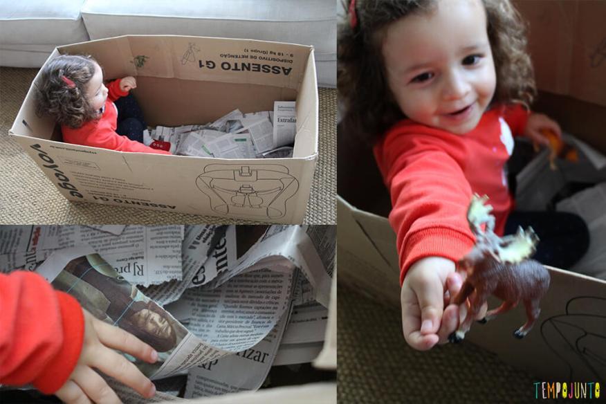 Brincadeira com jornal e papelão - evolução da brincadeira