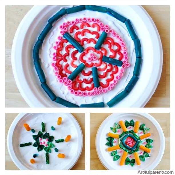 10 ideias de artes para fazer com crianças - mandala de macarrao