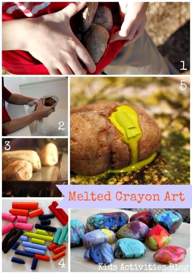 10 ideias de artes para fazer com criancas - peso de porta de giz de cera derretudo