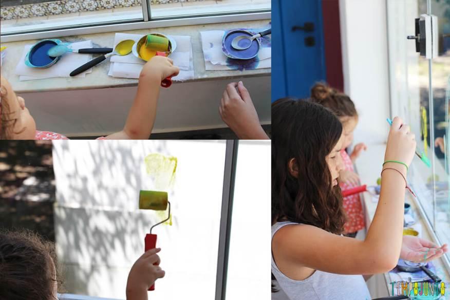 Receita de tinta caseira para pintar vidro - meninas pintando o vidro