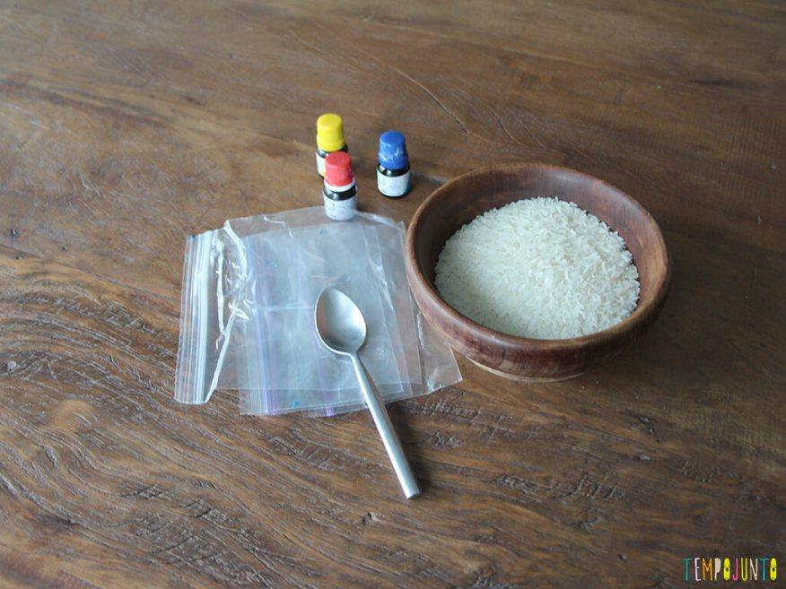 Arte com arroz colorido - materiais