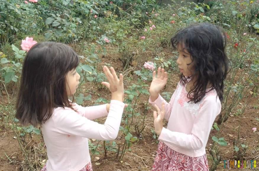 Brincadeiras de bate mao - meninas uma de frente pra outra