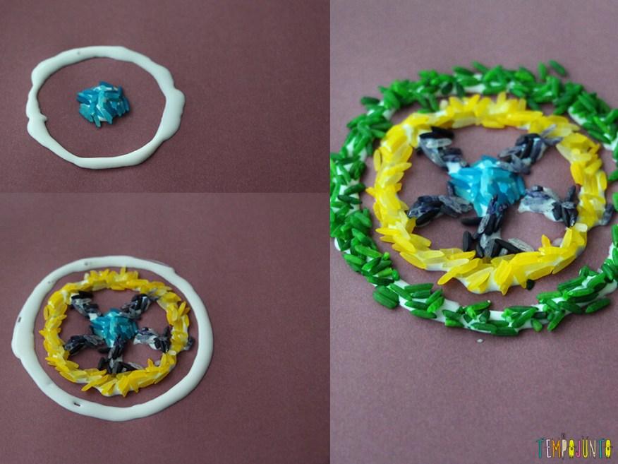 Mandala de arroz colorido - sequencia mandala