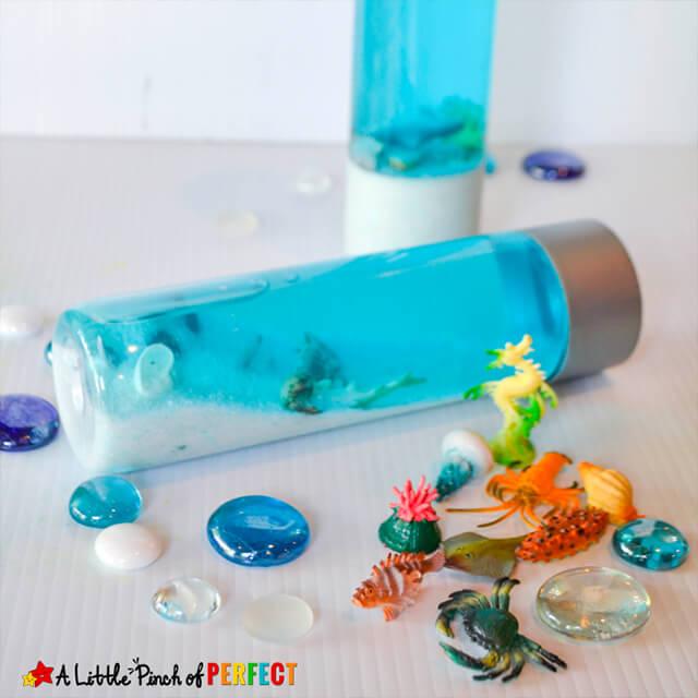 10 ideias criativas para brincar de fundo do mar - aquario na garrafa