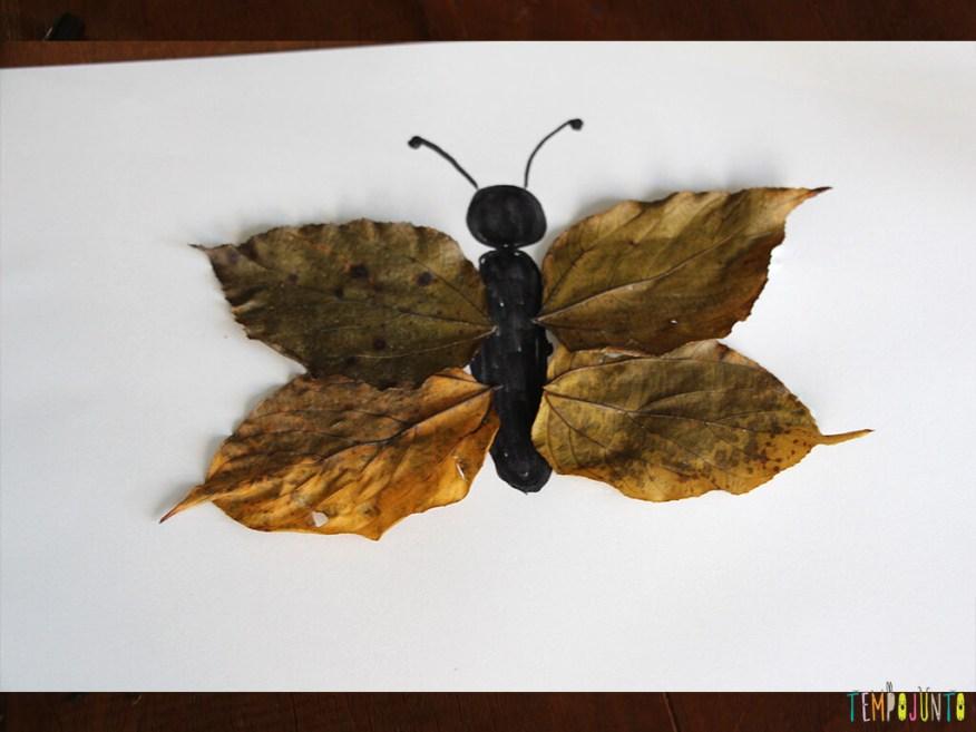 Arte com folhas de árvore_0308_borboleta feita de canetinha e folhas secas