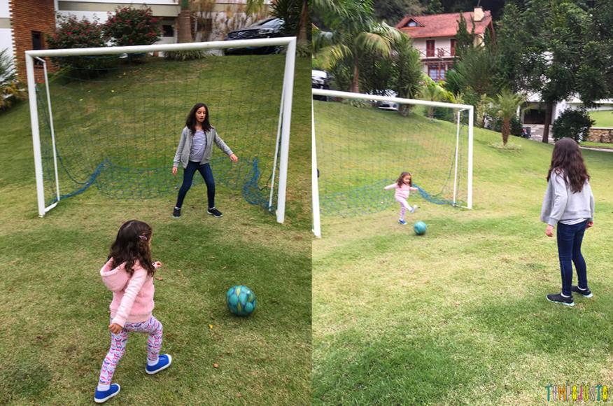 Brincadeiras que reúnem irmãos grandes e pequenos -futebol