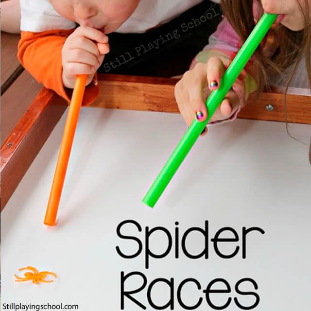 10 ideias criativas para o Dia das Bruxas - corrida de aranhas