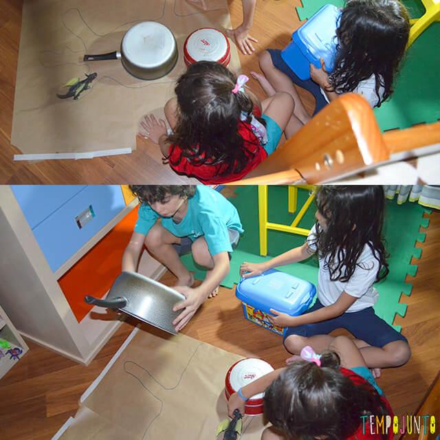 Encontre a sombra certa um jogo de raciocínio ótimo para crianças - criancas tentando montar a sombra