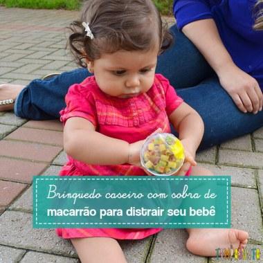 Um brinquedo caseiro com tinta e macarrão para distrair seu bebê por alguns minutos