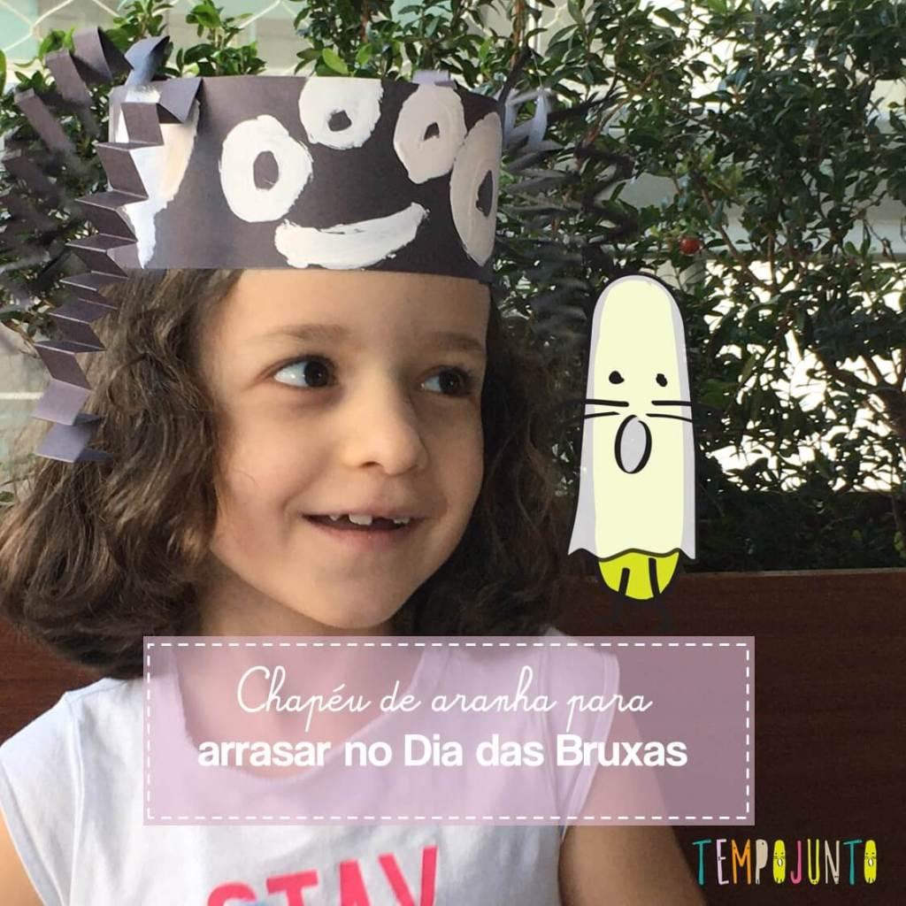 Brincadeira para Dia das Bruxas: chapéu de aranha
