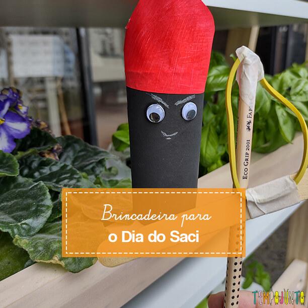 Brinquedo caseiro diferente para o Dia do Saci: um pula-Saci