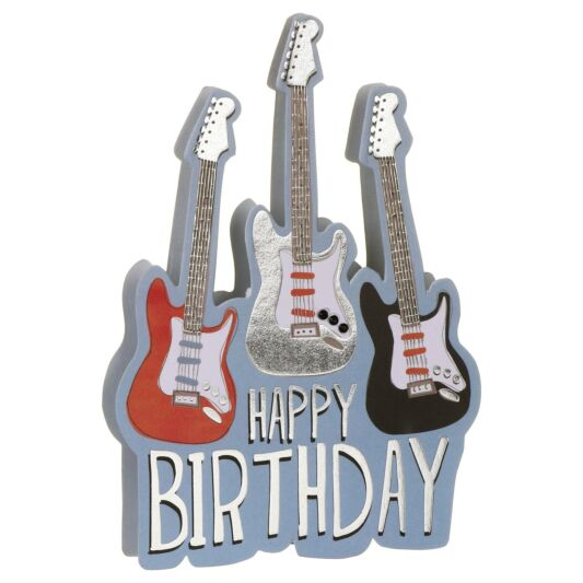Happy Birthday Electric Guitars 3d Card Temptation Gifts