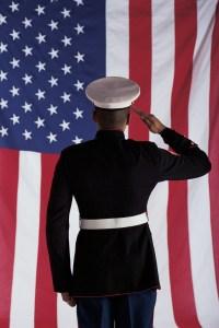 Man in U.s. Marine Corps Uniform Saluting American Flag