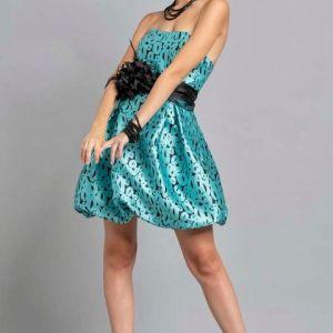 abito corto a palloncino di raso stampato tiffany
