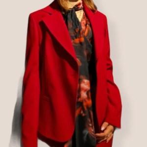 giacca monopetto color rubino bottone gioiello