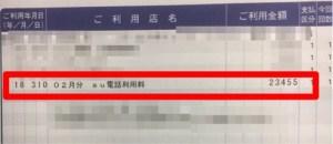 2018年2月分au料金のカード請求明細
