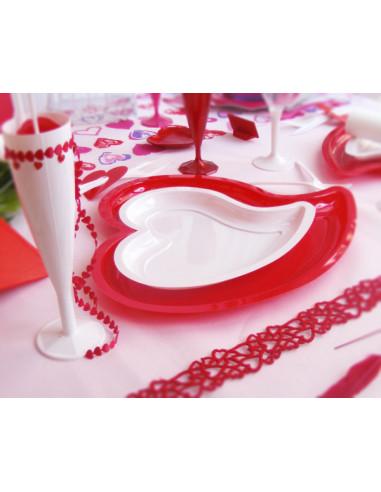 assiette plastique coeur rouge 31cm