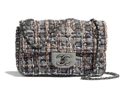 Sac à rabat Chanel Tweed, perles d'imitation & métal finition ruthénium Gris, beige, marron & blanc