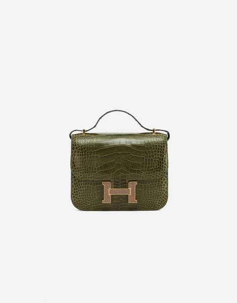 Hermès Constance Mini 18 Alligator Lizard Marquette Vert Veronese Agate Luxury Bag