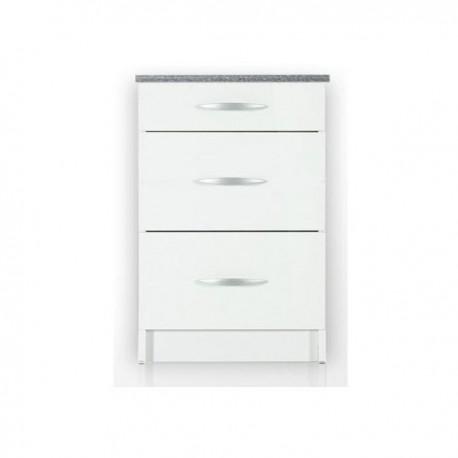 meuble de cuisine casserolier bas 3 tiroirs 60 cm oxane laque brillant