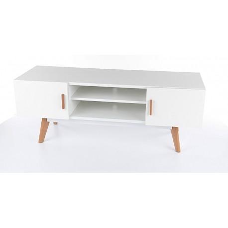 meuble tv milan blanc pieds en chene style scandinave
