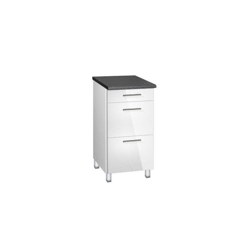 meuble de cuisine bas 40 cm 3 tiroirs tara avec pieds reglables