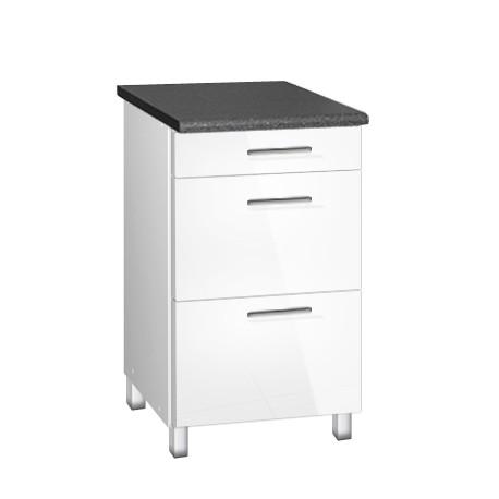 meuble de cuisine bas 50 cm 3 tiroirs tara avec pieds reglables