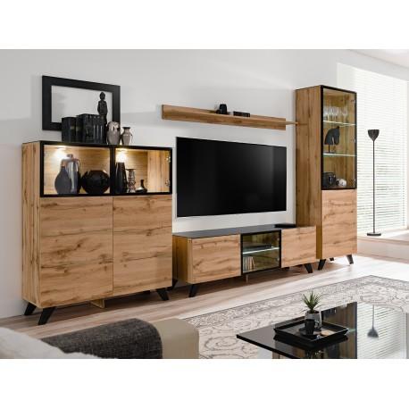ensemble meuble tv thin style industriel noir et wotan