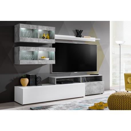 ensemble meuble tv light blanc mat et gris