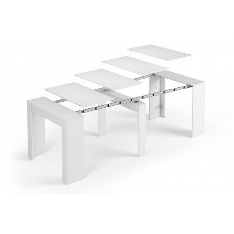 table extensible alga blanc brillant