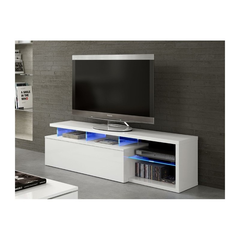blie meuble tv avec led blanc brillant 150 cm tendencio