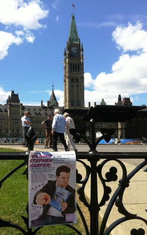 Fucking Stephen Harper poster outside Parliament. 2011