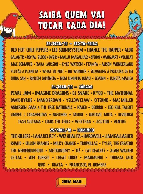 Resultado de imagem para lollapalooza 2018 lineup brasil