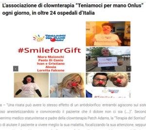 L'associazione di Clownterapia Teniamoci per Mano Onlus ogni giorno in oltre 24 ospedali d'Italia