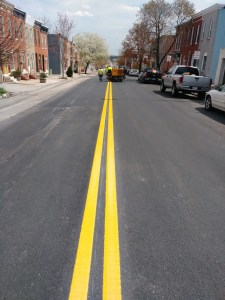 Reflective Road Striping for Traffic Safety