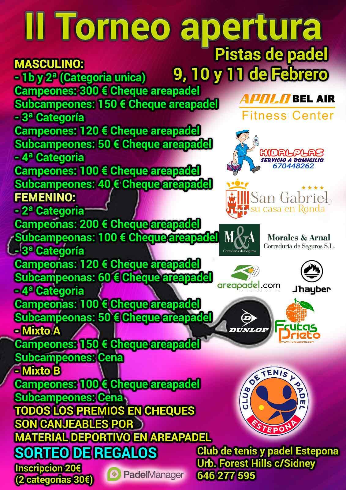 Torneo de padel Inaugural II en Estepona